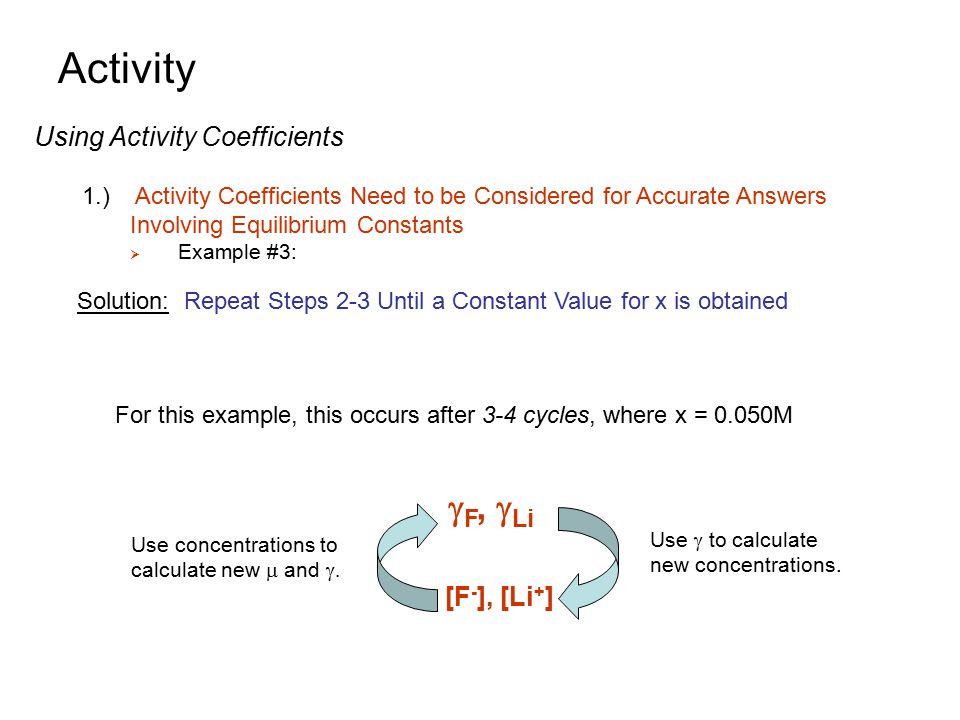 Activity gF, gLi Using Activity Coefficients [F-], [Li+]